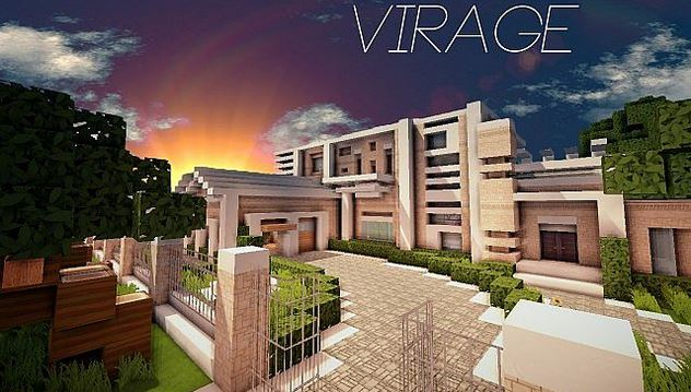 Virage modern island house map for Minecraft modern house download 1 8