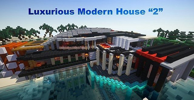 Luxurious modern house 2 map mc 1 8 9 1 8 1 for Minecraft modern house download 1 8